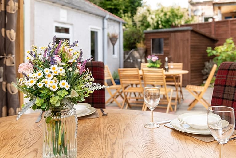 Outside dining in this self catering accommodation
