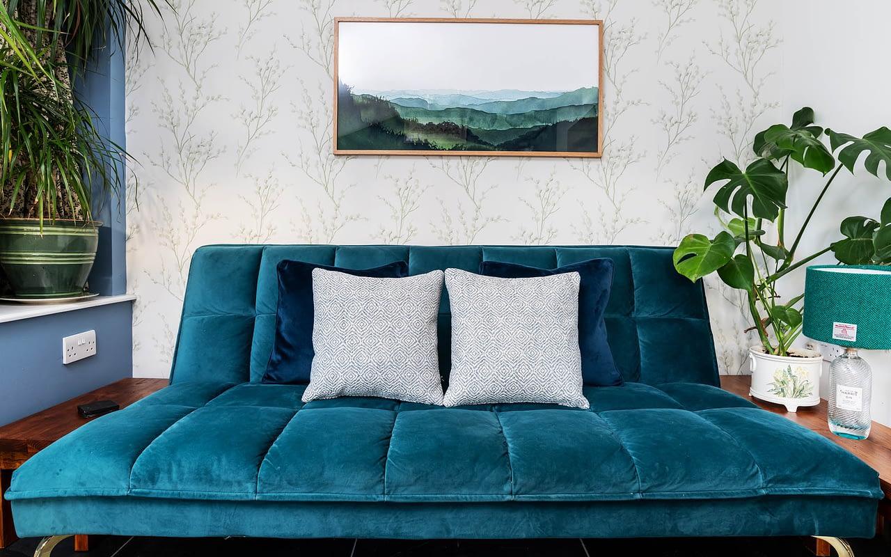 Velvet sofa in Riverside Cottage Ballater