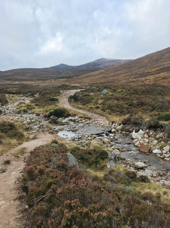 Walking cairngorms mountains near Ballater